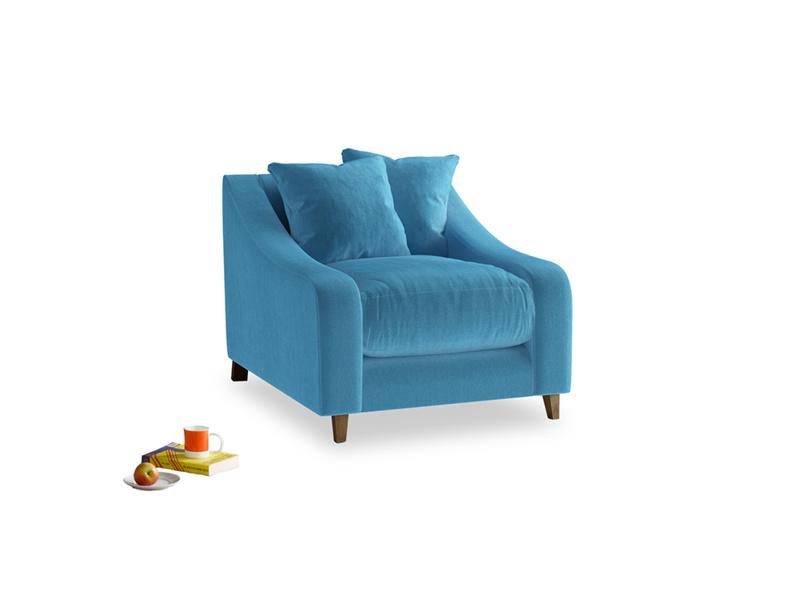 Oscar Armchair in Teal Blue plush velvet