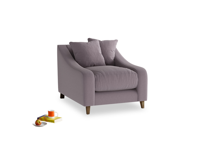Oscar Armchair in Lavender brushed cotton