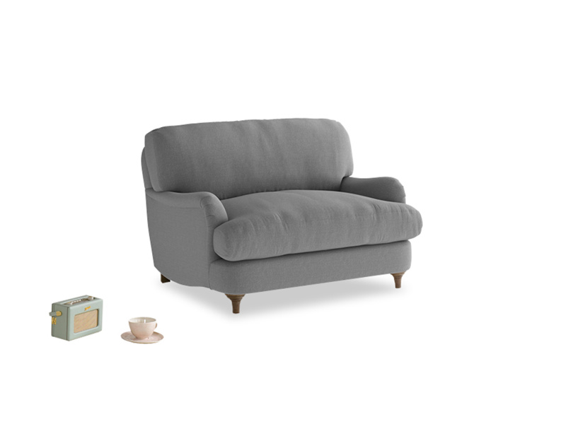 Jonesy Love seat in Gun Metal brushed cotton