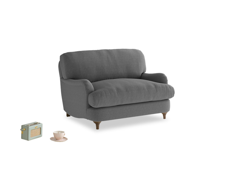 Jonesy Love seat in Ash washed cotton linen