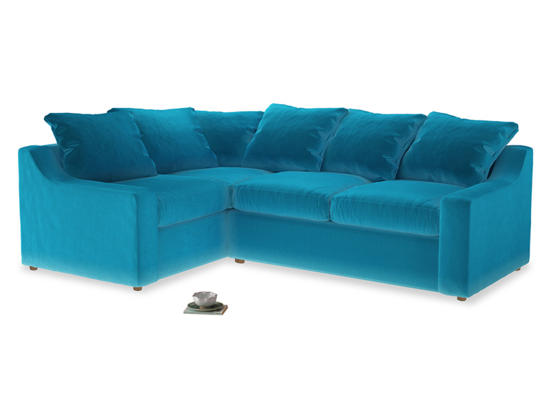 Large Left Hand Cloud Corner Sofa in Azure plush velvet