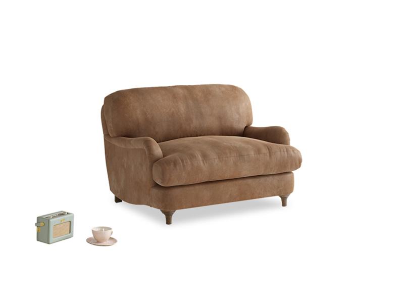 Jonesy Love seat in Walnut beaten leather