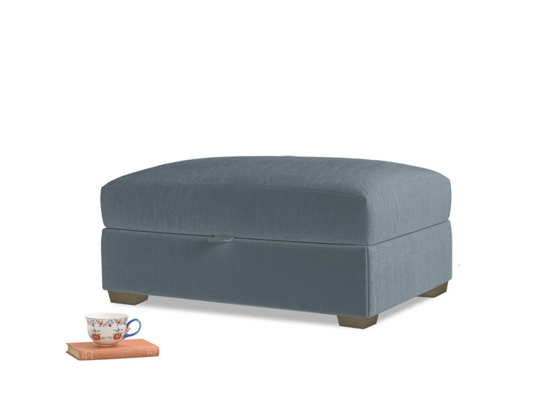 Bumper Storage Footstool in Mermaid plush velvet