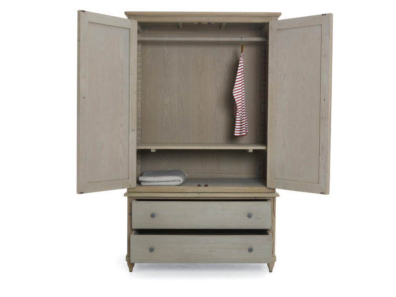 Haybarn wardrobe has drawers and is painted grey