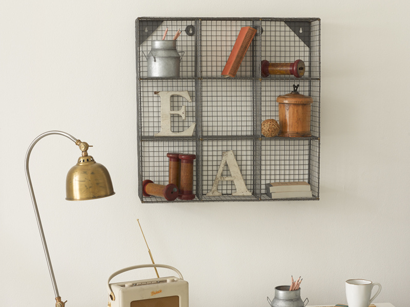 Waffle small wall hanging wire shelving wall organiser