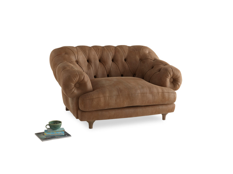 Bagsie Love Seat in Walnut beaten leather