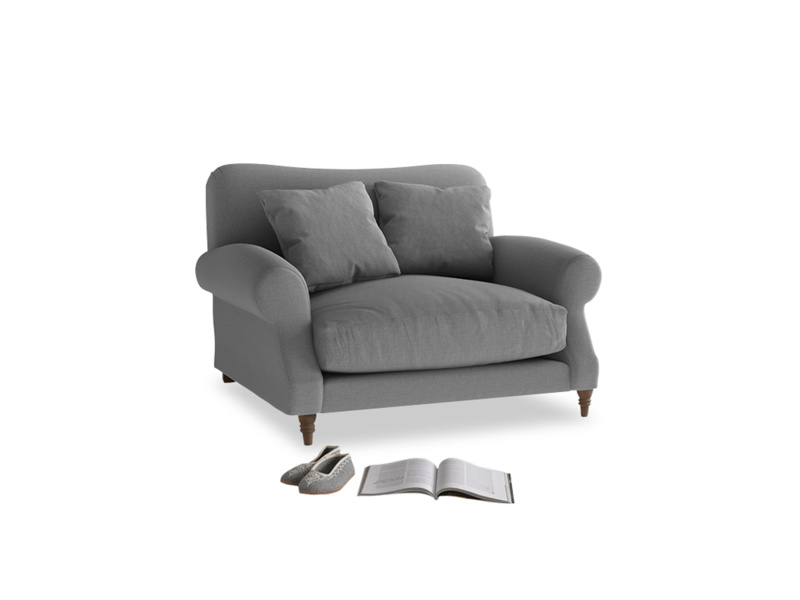 Crumpet Love seat in Gun Metal brushed cotton