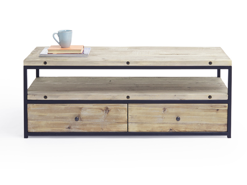 Hercule industrial reclaimed wooden TV stand