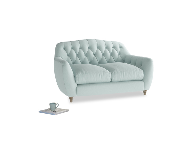 Small Butterbump Sofa in Gull's Egg Brushed Cotton