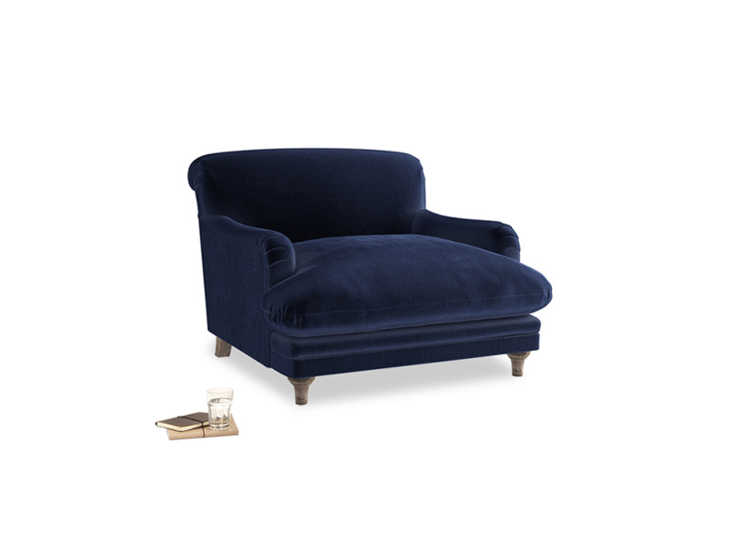 Pudding Love seat in Midnight plush velvet