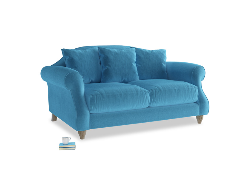 Small Sloucher Sofa in Teal Blue plush velvet