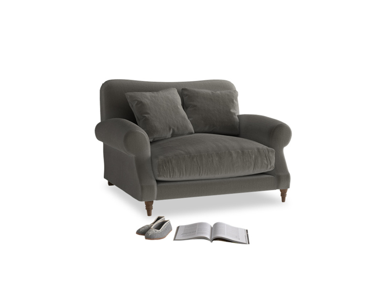 Crumpet Love seat in Slate clever velvet