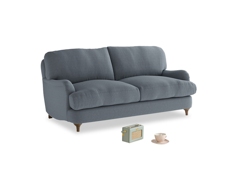 Small Jonesy Sofa in Blue Storm washed cotton linen