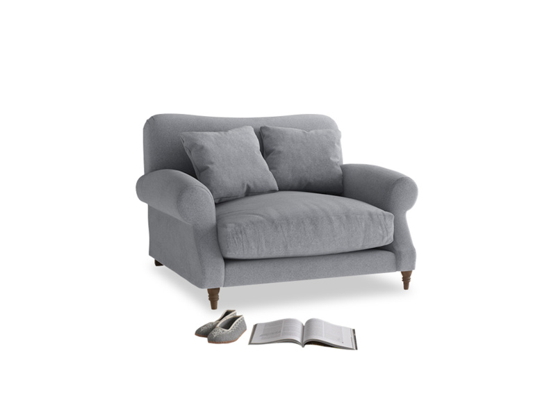 Crumpet Love seat in Dove grey wool