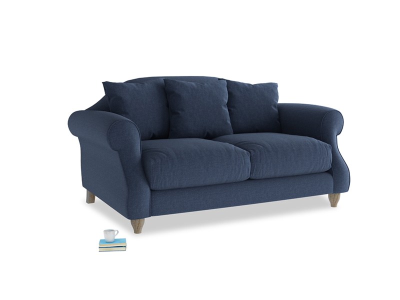 Small Sloucher Sofa in Navy blue brushed cotton