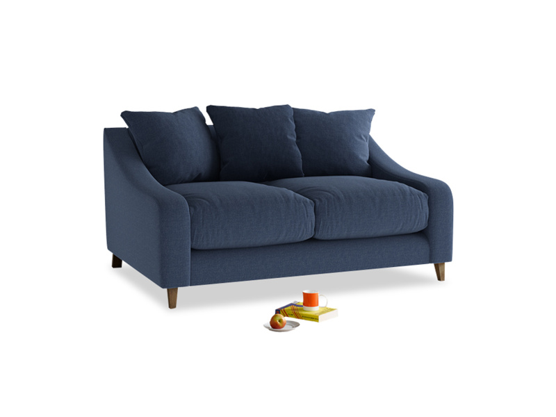 Small Oscar Sofa in Navy blue brushed cotton