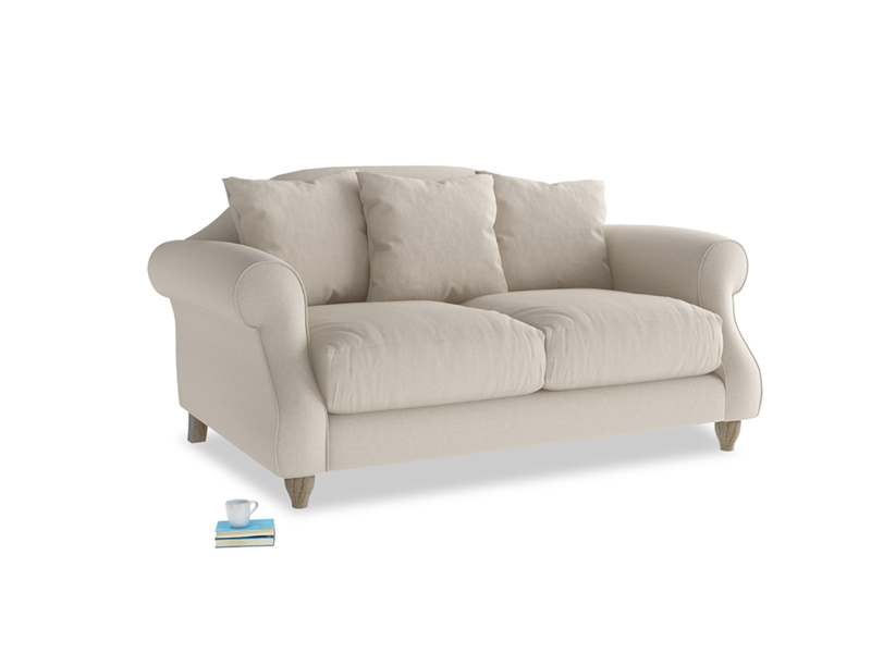 Small Sloucher Sofa in Buff brushed cotton