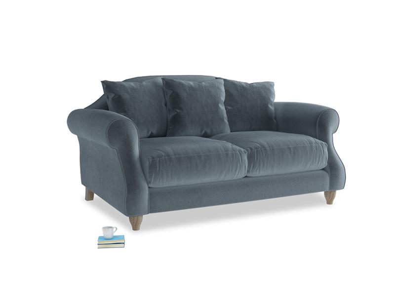 Small Sloucher Sofa in Mermaid plush velvet