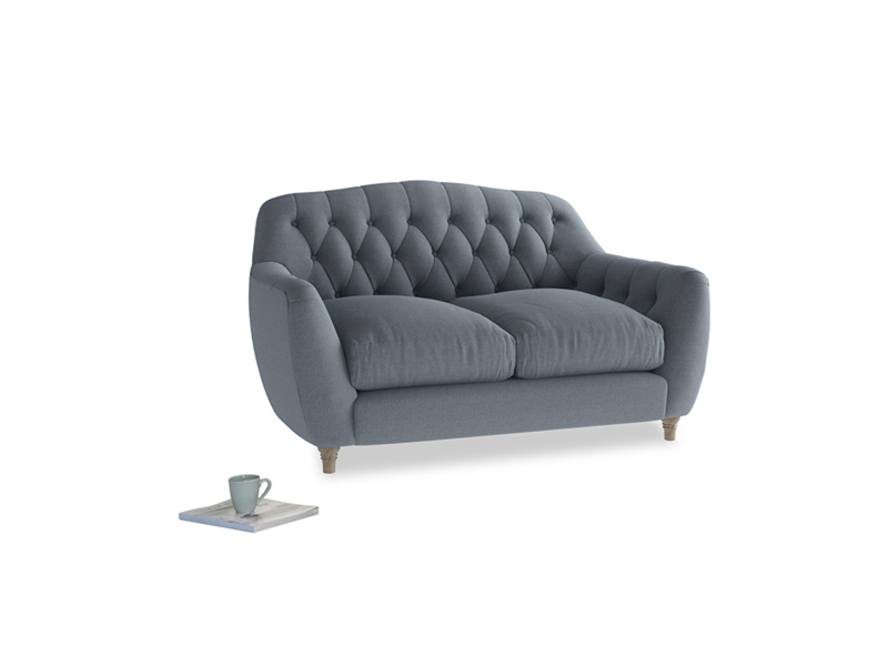 Small Butterbump Sofa in Blue Storm washed cotton linen