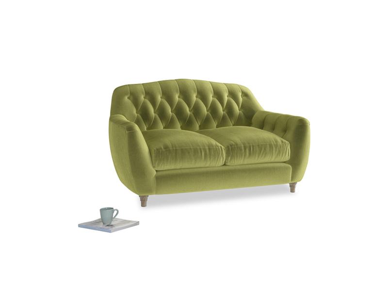 Small Butterbump Sofa in Olive plush velvet