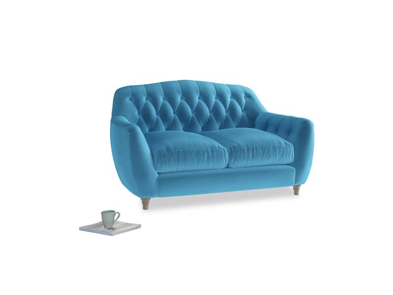 Small Butterbump Sofa in Teal Blue plush velvet