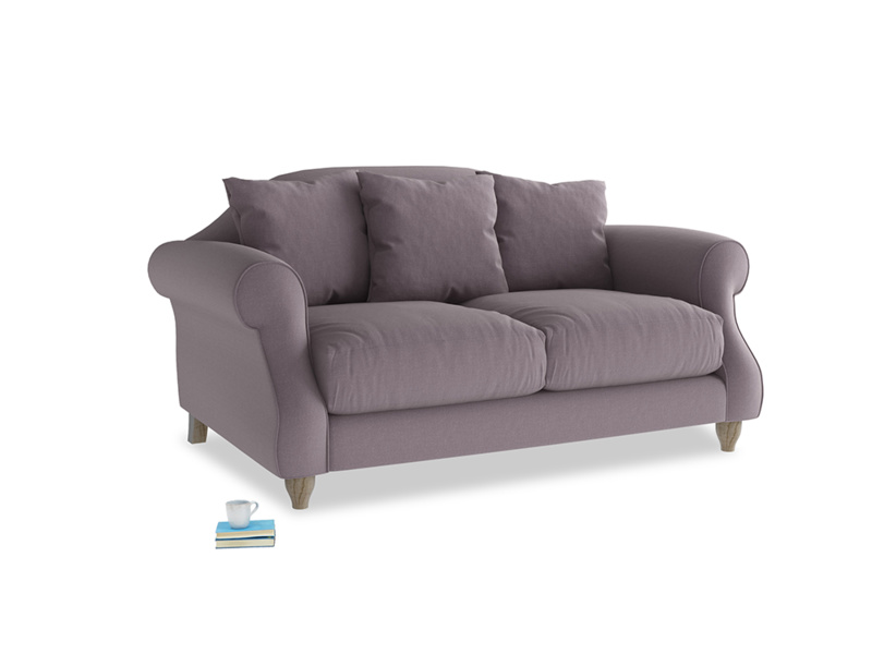 Small Sloucher Sofa in Lavender brushed cotton