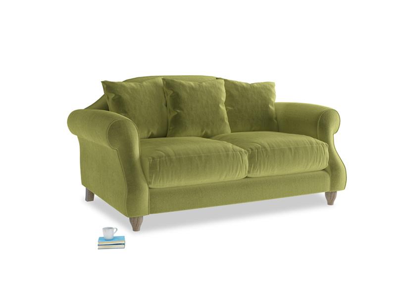 Small Sloucher Sofa in Olive plush velvet