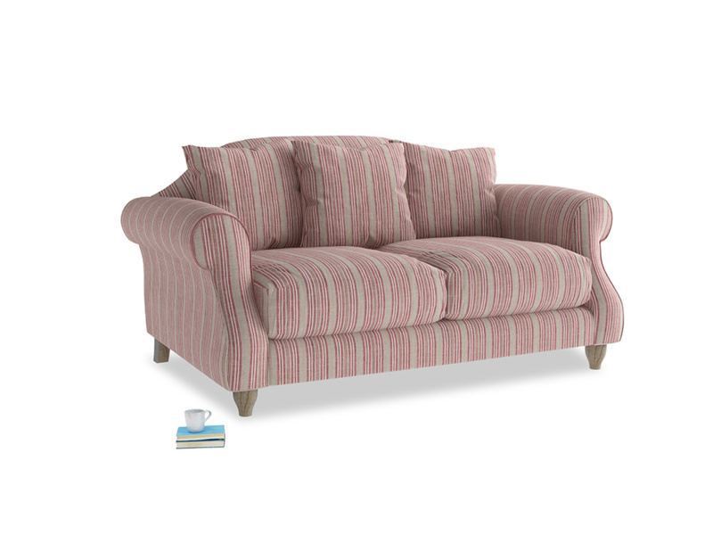 Small Sloucher Sofa in Red french stripe