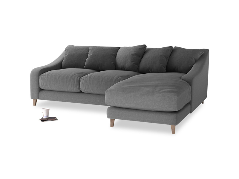 Large right hand Oscar Chaise Sofa in Ash washed cotton linen