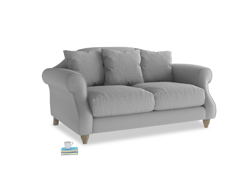 Small Sloucher Sofa in Magnesium washed cotton linen