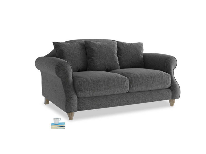 Small Sloucher Sofa in Shadow Grey wool