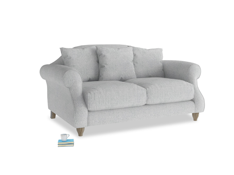 Small Sloucher Sofa in Pebble vintage linen