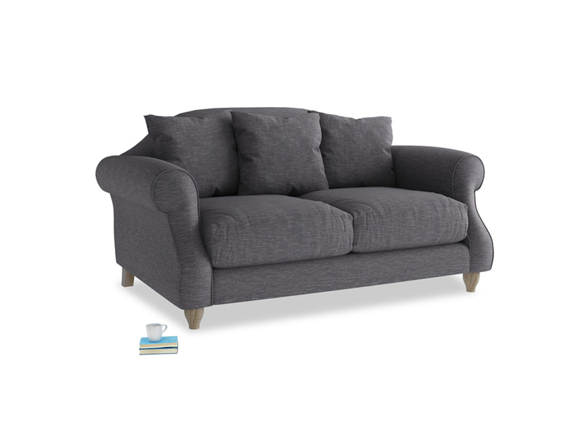 Small Sloucher Sofa in Lead cotton mix