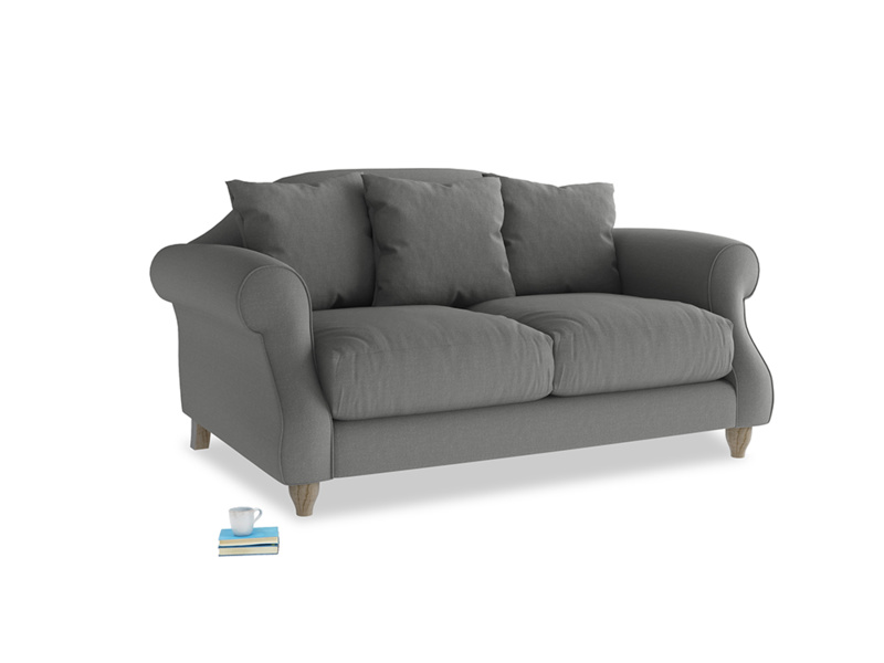 Small Sloucher Sofa in French Grey brushed cotton