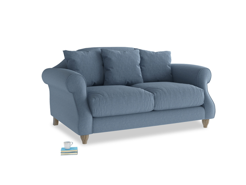 Small Sloucher Sofa in Nordic blue brushed cotton