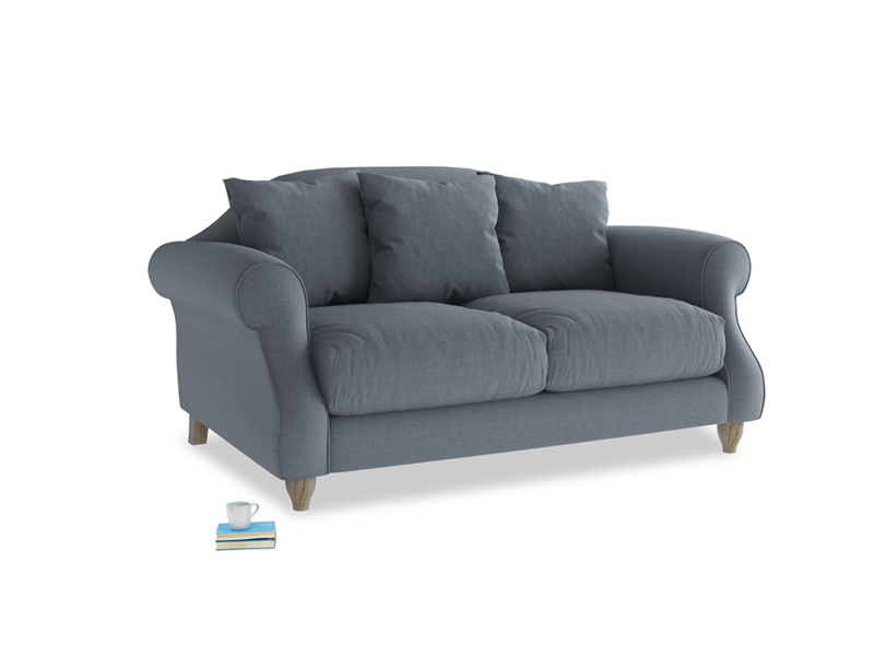 Small Sloucher Sofa in Blue Storm washed cotton linen