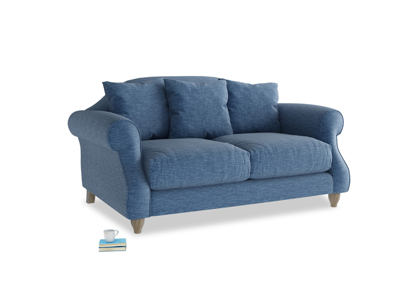 Small Sloucher Sofa in Hague Blue cotton mix