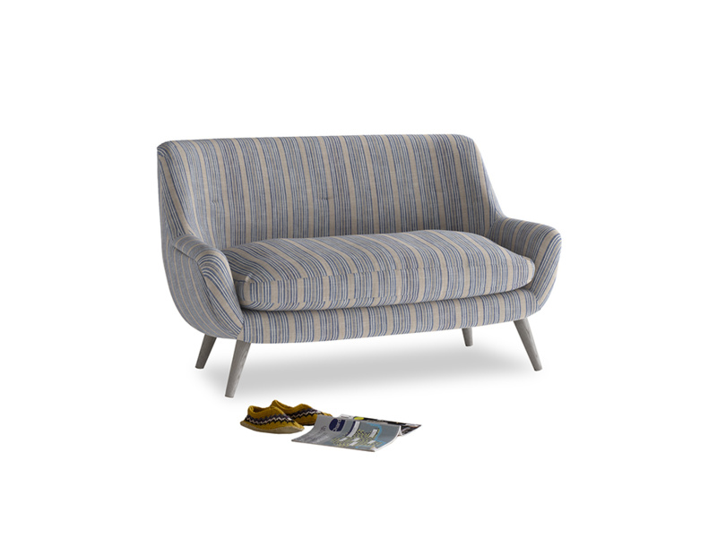 Small Berlin Sofa in Brittany Blue french stripe