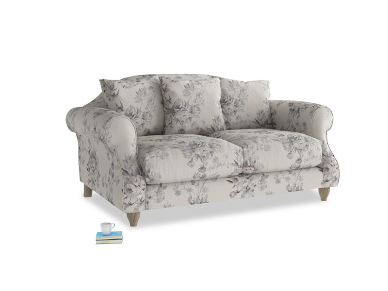 Small Sloucher Sofa in Dusty Blue vintage rose