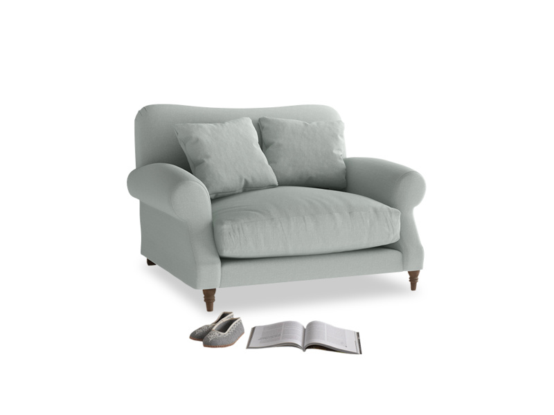 Crumpet Love seat in French blue brushed cotton