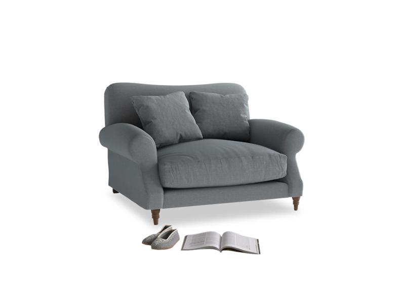 Crumpet Love seat in Dusk vintage linen
