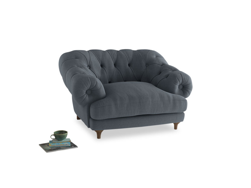 Bagsie Love Seat in Blue Storm washed cotton linen