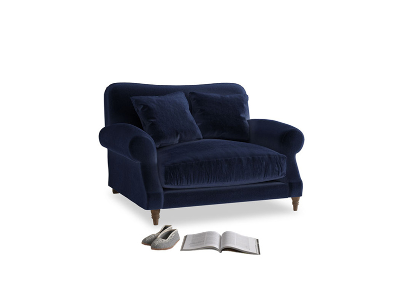 Crumpet Love seat in Midnight plush velvet