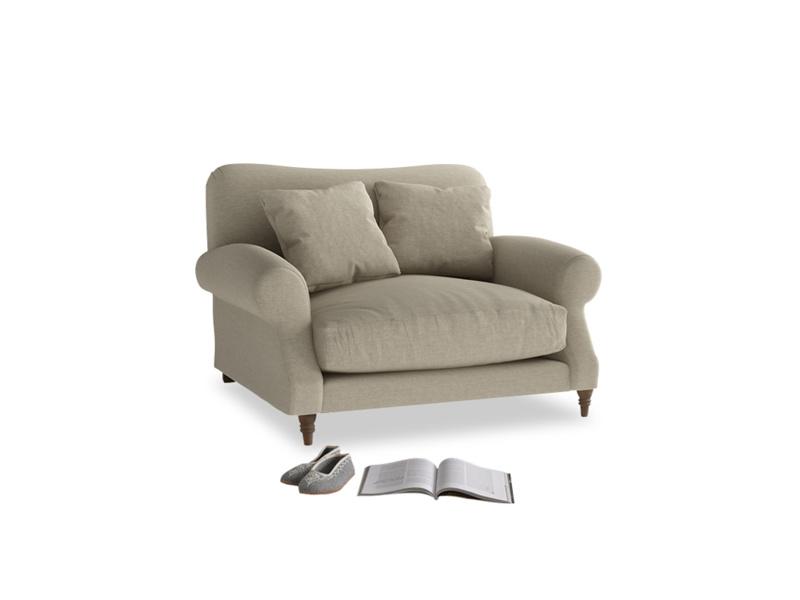 Crumpet Love seat in Jute vintage linen