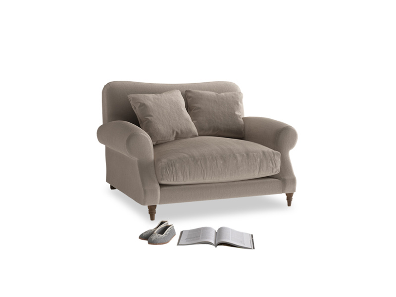 Crumpet Love seat in Fawn clever velvet