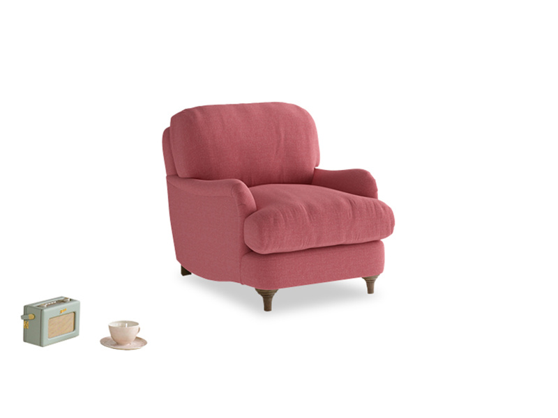 Jonesy Armchair in Raspberry brushed cotton