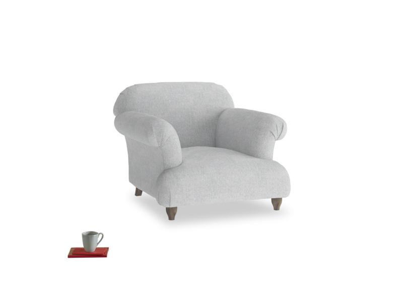 Soufflé Armchair in Pebble vintage linen