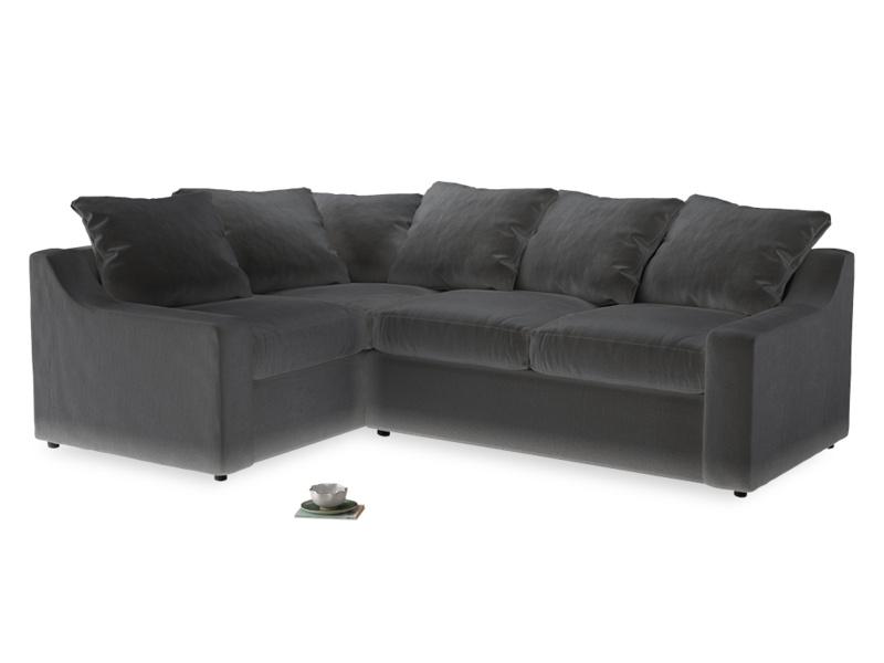 Large Left Hand Cloud Corner Sofa in Steel clever velvet