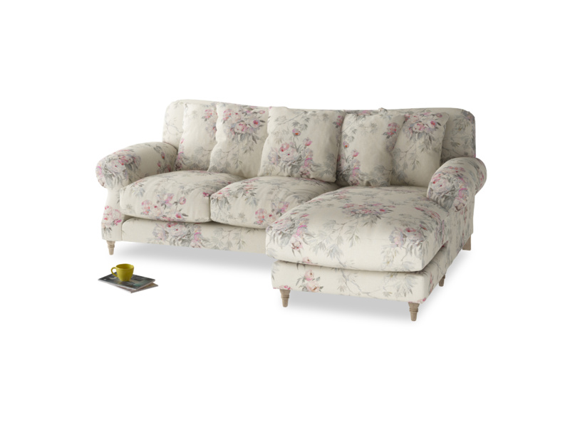 Large right hand Crumpet Chaise Sofa in Pink vintage rose