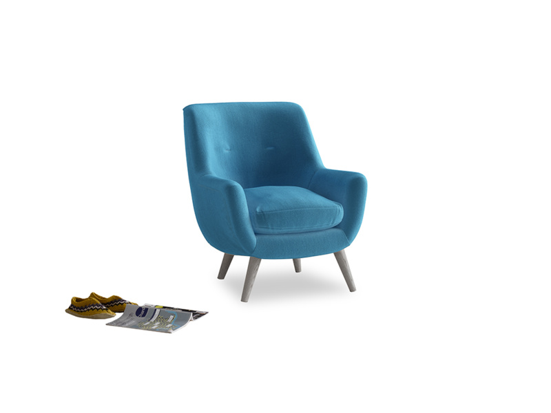 Berlin Armchair in Teal Blue plush velvet